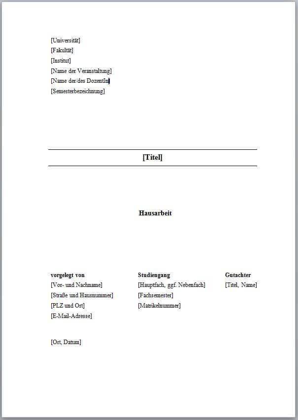 Vorlage deckblatt hausarbeit global catalog promotion complete