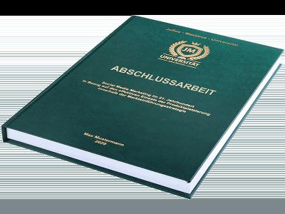 Abschlussarbeit drucken und binden lassen im Premium Hardcover dunkelgrün
