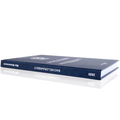 Bachelorarbeit drucken und binden mit Premium Hardcover blau Buchrücken