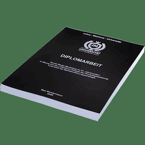 Diplomarbeit binden mit der Magazinbindung schwarz liegend