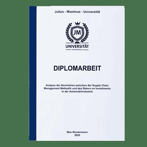 Diplomarbeit drucken lassen mit der Klebebindung frontal blau