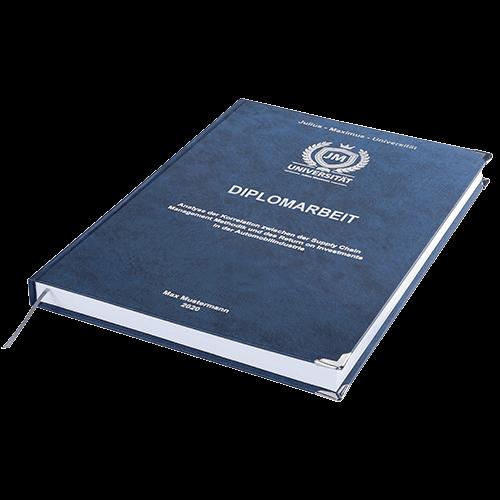 Diplomarbeit drucken und binden mit der Premium Hardcover Bindung dunkelblau liegend