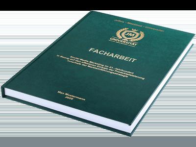 Facharbeit drucken und binden lassen im Premium Hardcover dunkelgrün