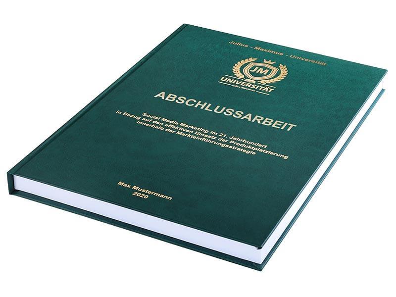 Premium Hardcover-Bindung dunkelgrün liegend