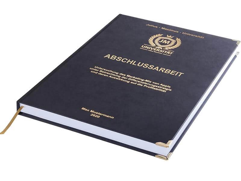 Premium Hardcover-Bindung schwarz liegend