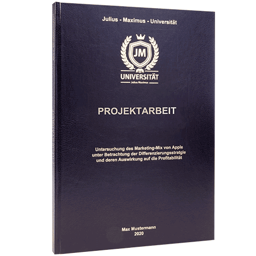 Projektarbeit binden lassen im Standard Hardcover