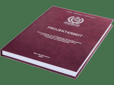 Projektarbeit drucken und binden lassen im Premium Hardcover bordeauxrot