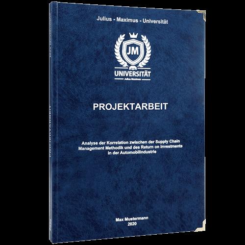 Projektarbeit drucken und binden mit dem Premium Hardcover dunkelblau