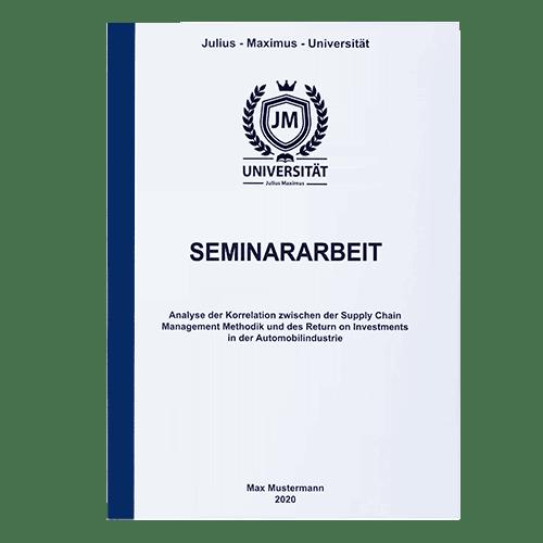 Seminararbeit drucken lassen mit der Klebebindung frontal blau