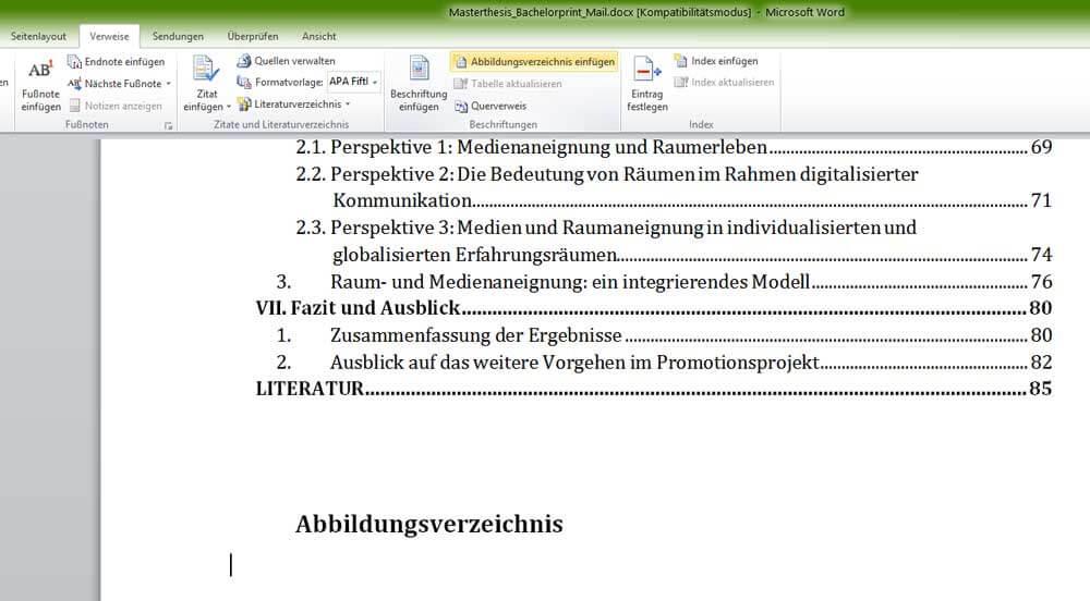 Abbildungsverzeichnis in Word einfügen