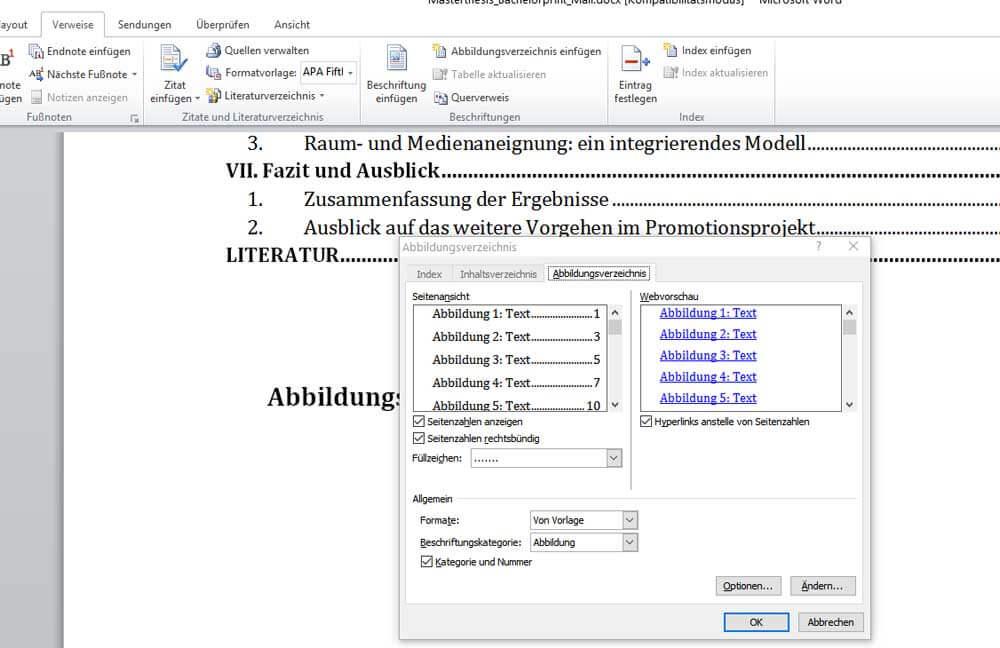 Richtige Formatierung für das Abbildungsverzeichnis in Word