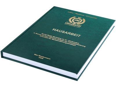 Hausarbeit drucken und binden lassen im Premium Hardcover dunkelgrün