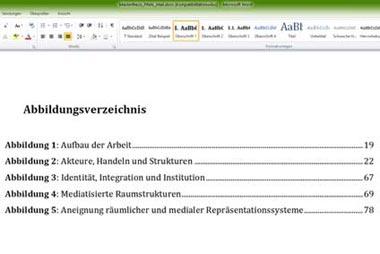 Abbildungsverzeichnis für die Projektarbeit erstellen