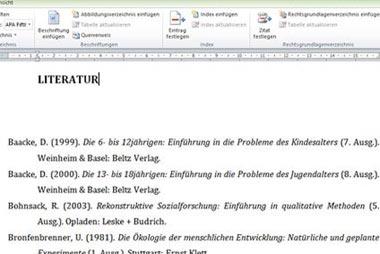 Literaturverzeichnis für die Projektarbeit erstellen