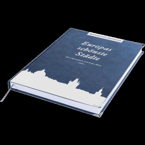 Buch drucken Premium blau liegend