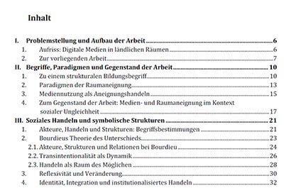 Inhaltsverzeichnis für die Seminararbeit erstellen