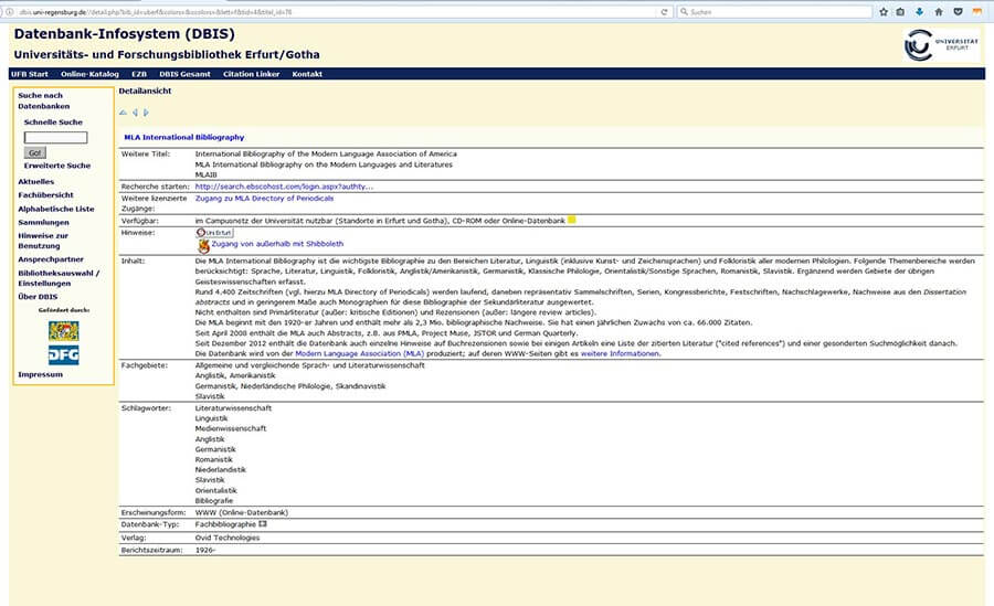 MLA Datenbank für Internetrecherche