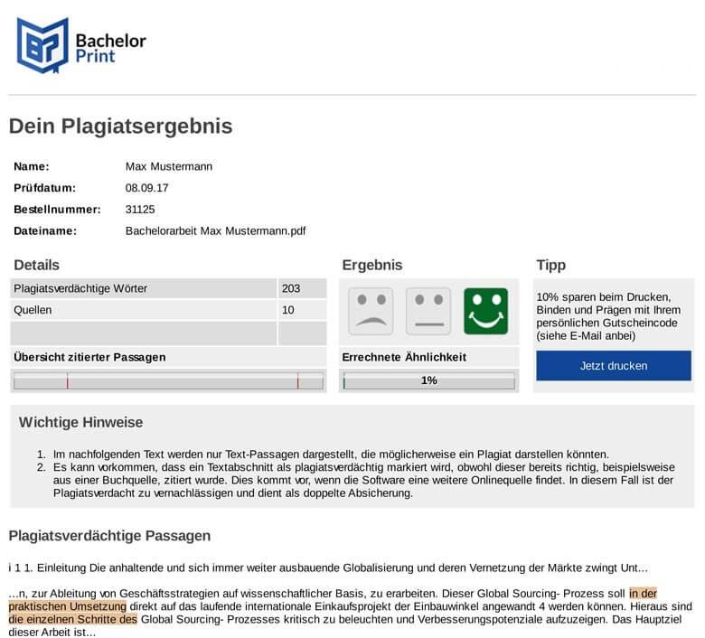 Plagiatsreport Beispiel nach online Plagiatsprüfung