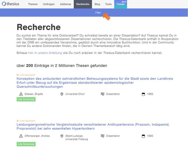 Suchen in der Thesius Recherche Datenbank