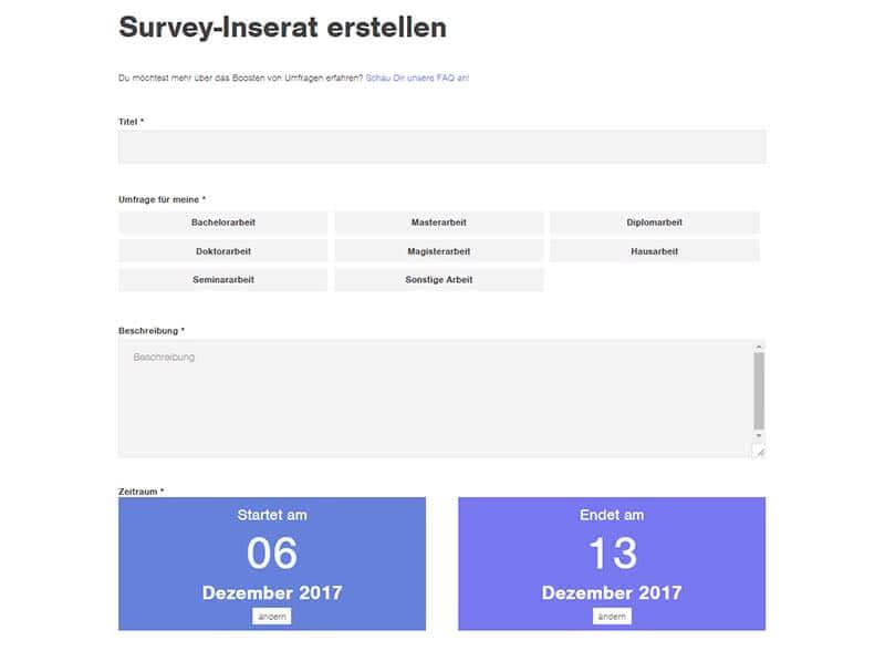 Thesius-Survey Umfrage erstellen