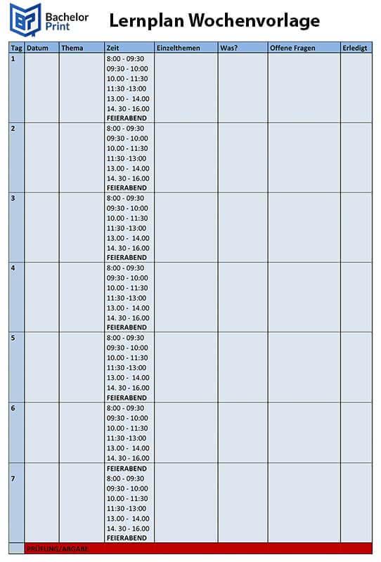 Lernplan erstellen mit Vorlage Wochenplan