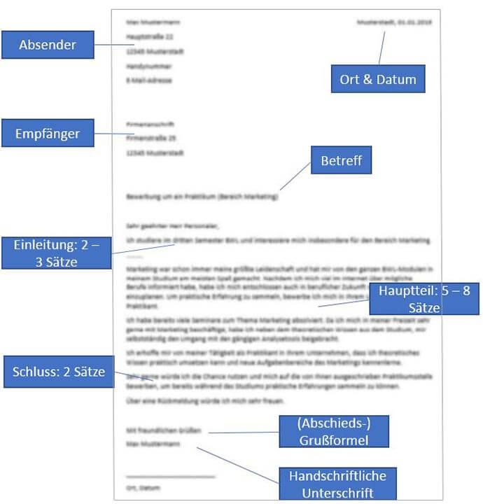 Bewerbung Praktikum Muster Beispiel