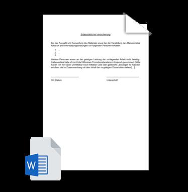 Eidesstattliche Erklärung Vorlage 3