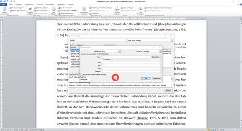 Literaturverzeichnis neue Quelle hinzufügen