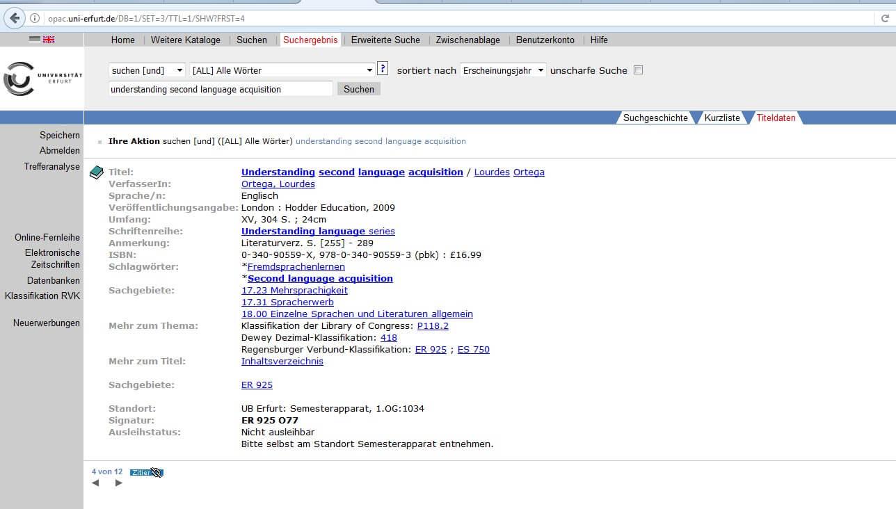 OPAC Uni Erfurt Ergebnis Englisch