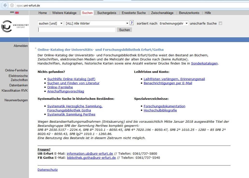 OPAC Uni Erfurt Suche