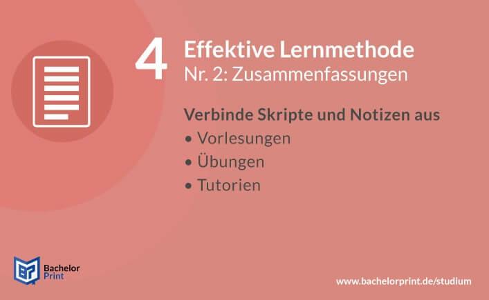 Effektive Lernmethode Zusammenfassungen