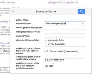 Google Scholar Erweiterte Suche