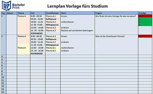 Lernmethode Lernplan