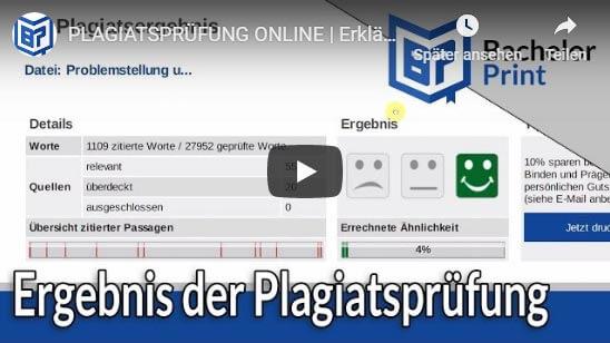 Ergebnis Plagiatsprüfung online