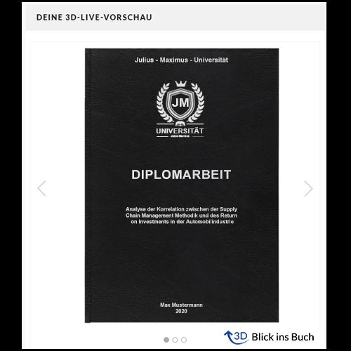 Diplomarbeit drucken Standard Hardcover 3D Vorschau